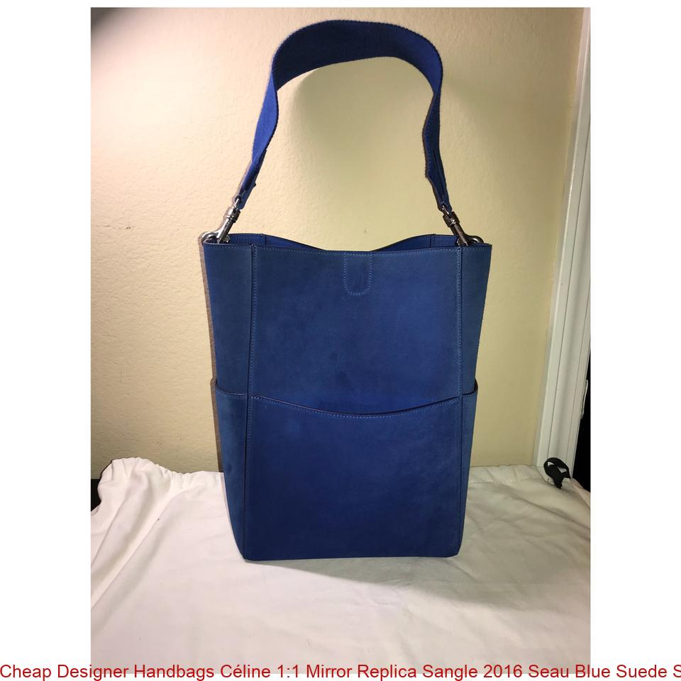 2e7823edfc7 Cheap Designer Handbags Céline 1:1 Mirror Replica Sangle 2016 Seau Blue  Suede Shoulder Bag celine big bag