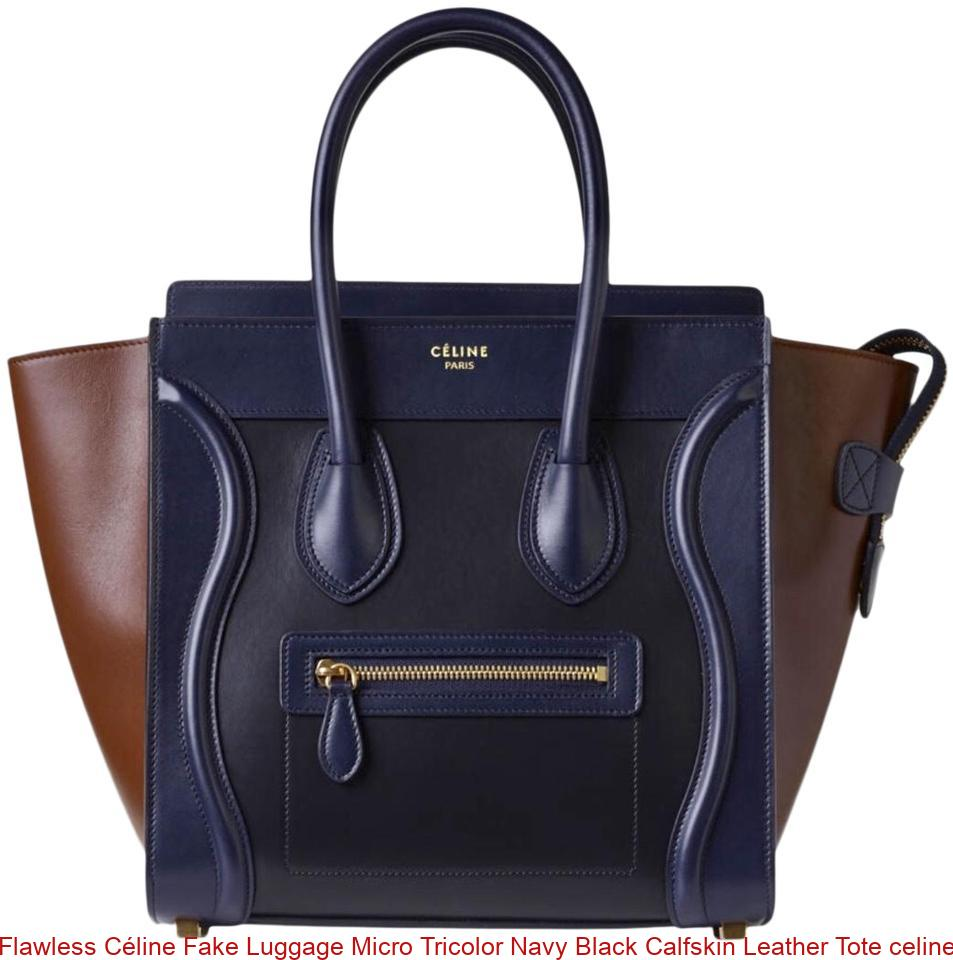 exquisite craftsmanship professional sale complete range of articles Flawless Céline Fake Luggage Micro Tricolor Navy Black Calfskin Leather  Tote celine replica bag sale