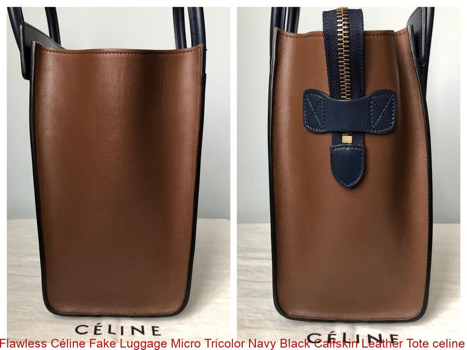 Flawless Céline Fake Luggage Micro Tricolor Navy Black Calfskin Leather  Tote celine replica bag sale 52304c845a3b6