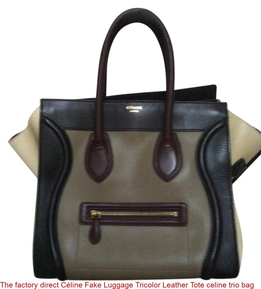 The Factory Direct Céline Fake Luggage Tricolor Leather Tote Celine Trio Bag
